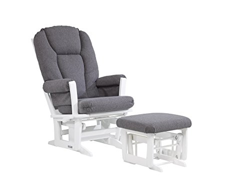 [Dutailier Modern Glider with Multiposition, Recline and Ottoman Combo, White/Dark Grey] (Reclining Glider And Ottoman)