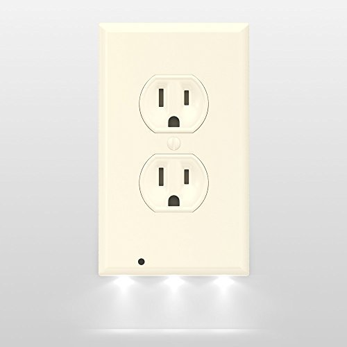 SnapPower Guidelight - Outlet Wall Plate With LED Night Lights - No Batteries Or Wires - Installs In Seconds - (Duplex, Light Almond) (1 Pack) - Outlet Wall Plate Cover