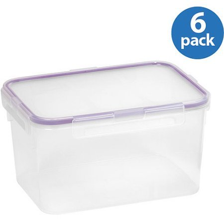 Snapware 6-Pack Airtight Plastic 10.8-Cup Rectangle Food ...