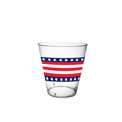 40-Count Printed Hard Plastic 2-Ounce Shot Glasses, Stars and Stripes