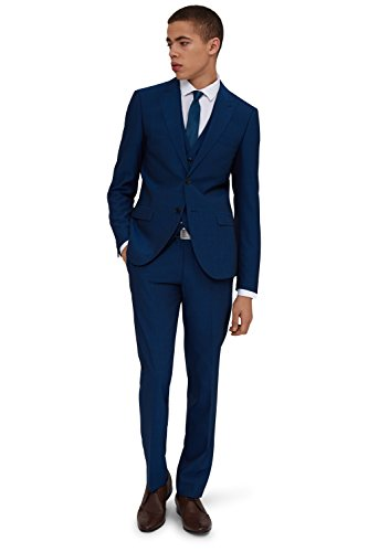 Moss London Men's Skinny Fit Peacock 2 Piece Suit 38S Blue