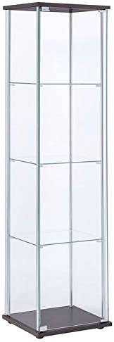 BOWERY HILL 4 Shelf Glass Display Case Cabinet with Chrome Support Beams and Cappuccino Brown Top Base