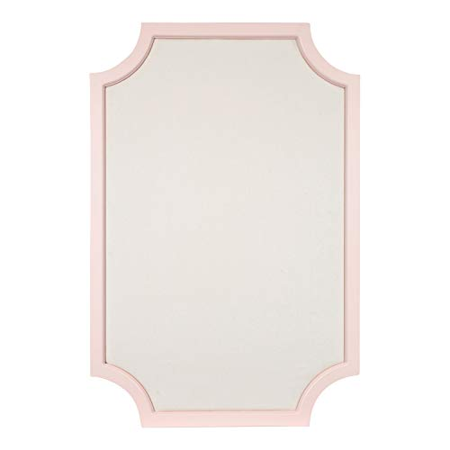 n Wood Framed Fabric Pinboard with Scallop Corners, 24 x 36 Inches, Pink and White ()