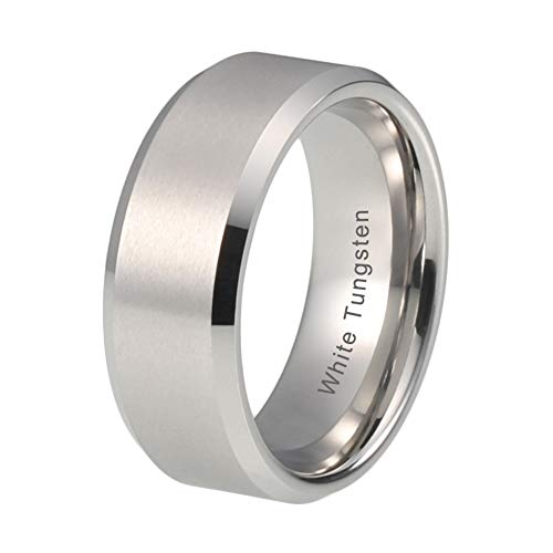 iTungsten 8mm White Tungsten Carbide Wedding Bands for Men Women Engagement Ring Matte Finish Beveled Edges Comfort Fit