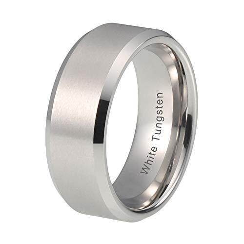 iTungsten 8mm White Tungsten Carbide Wedding Bands for Men Women Engagement Ring Matte Finish Beveled Edges Comfort Fit
