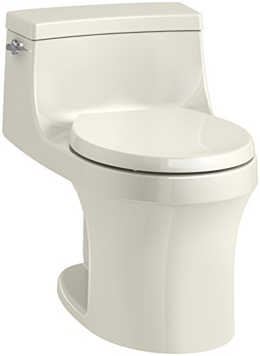 - KOHLER K-4007-96 San Souci Round-Front 1.28 GPF Toilet with AquaPiston Flushing Technology and Left-Hand Trip Lever, Biscuit, 1-Piece