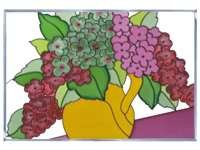 Hydrangea Burgundy Moss Green Art Glass Panel Wall Window