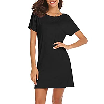 PASATO Women Casual Solid Above Knee Dress Sleeve Slim Backless Beach Club Party Mini Dress