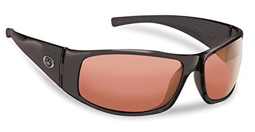 Flying Fisherman Magnum Polarized Sunglasses (Shiny Black Frame, Vermillion - Polaroid Brand Sunglasses