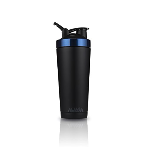 Stainless Steel Protein Shaker Bottle | Double Wall Vacuum Insulated 24oz Sports Cup by Avida (Blue) (And Mixer Go Bottle Shake)