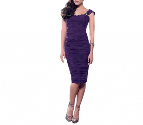 Social Neckline Square Women's Length Dress Sheath Ocassion Knee Aubergine Dearta tYFHqwE