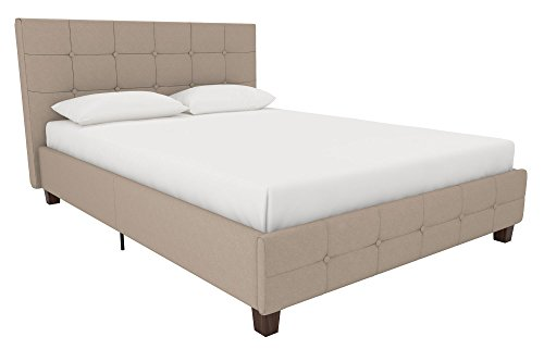DHP Rose Linen Tufted Upholstered Platform Bed, Button Tufted Headboard and Footboard with Wooden Slats, Full Size - Tan