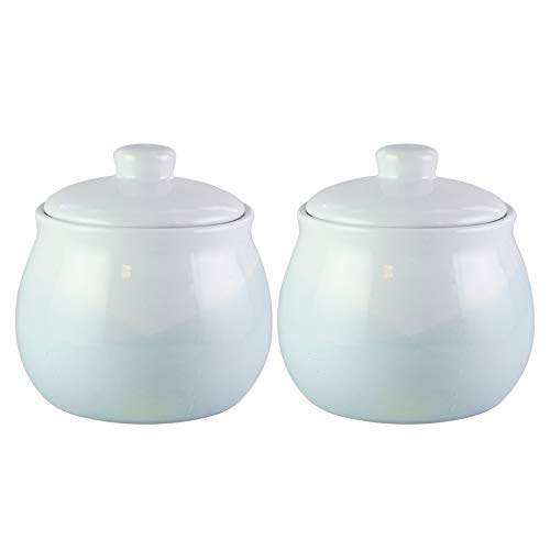 American Atelier Oasis Mint Canister Set 2-Piece Large Ceramic Jars 60oz Each Chic Design With Lids for Cookies, Candy, Coffee, Flour, Sugar, Rice, Pasta, Cereal & More (Mint Cookie Jar)