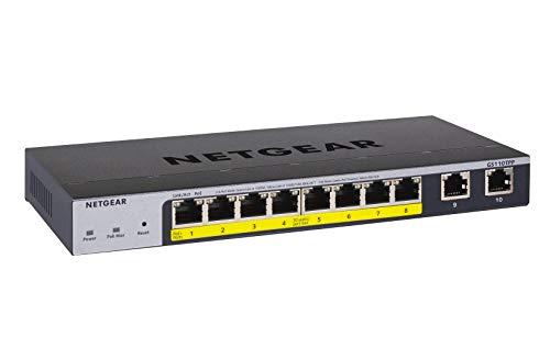 NETGEAR 10-Port Gigabit Ethernet Smart Managed Pro PoE Switch (GS110TPP) - with 8 x PoE+ @ 120W, Desktop/Wall Mount
