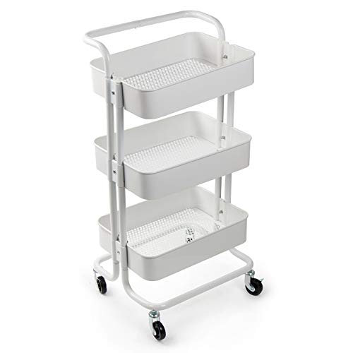 Display4top 3 Tier Rolling Metal Shelving Utility Storage Cart with Wheels, Organizer Trolley,Suitable for Office,Warehouse,Home Kitchen or Outdoor (White) (Metal Rolling White Cart)