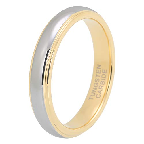 iTungsten 4mm 18K Gold Tungsten Rings for Women Men Wedding Bands Stepped Edges Domed Polished Shiny Comfort Fit