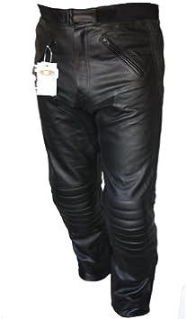 Bikers Gear UK Pantalón de Moto Sturgis de Cuero Reforzado Certificado CE Negro 52 Corto