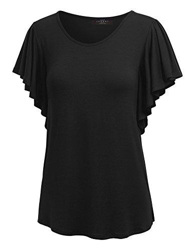 MBJ WT1198 Womens Round Neck Short Ruffle Sleeve T Shirt L - Ruffle Shirt Short Sleeve