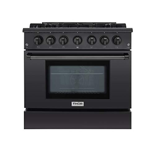 Thor Kitchen 36 Inch Gas Range 6 Burners Cooktop 5.2 cu.ft Oven Black Steel Free-Standing Blue...