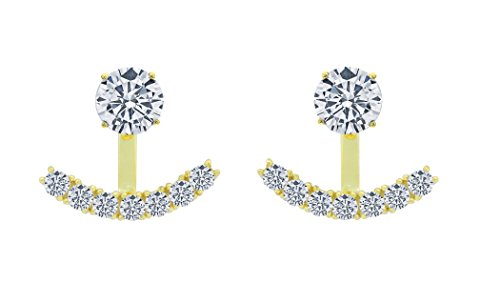- Sterling Silver Front Back 2 in 1 Cubic Zirconia AAA Quality Stud and Ear Jacket Cuff Earrings Set (Yellow)