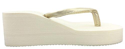 SHOWHOW Antiskid Sandals Wedge Beige Platform Womens Flops High Flip Thong Heels rSxr4a