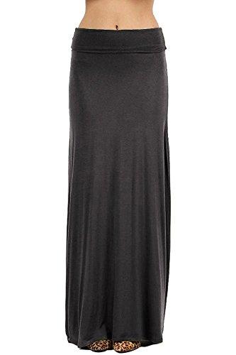 NioBe Clothing Womens Solid Long Draped Maxi Skirt (X-Large, Ash Grey)