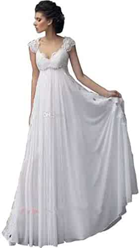 3fdb060078f Chady Lace Cap Sleeves Empire Wedding Dress Open Back with Flowy Skirt  Country Beach Bridal Dress