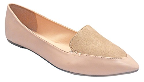 Womens Jersey Soft and Faux Vegan Leather Comfortable Basic Canvas Slip On Ballet Flats Shoes Dress Shoes (8, Blush)