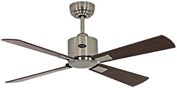 Ventilador de techo de bajo consumo Eco Neo II 103 cm cromo cepillado con alas de nogal/wengué: Amazon.es: Hogar