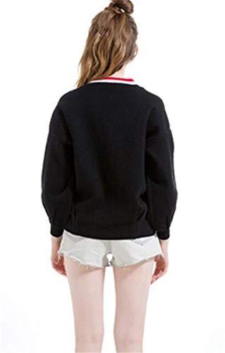 Primaverile Manica Autunno Chic Giacche Ragazza Fashion Outwear Lunga Donna Strisce Con Cerniera Elegante Casuale Cappotto Schwarz Giuntura A Festiva Giacca Maglia qS5W1v71F