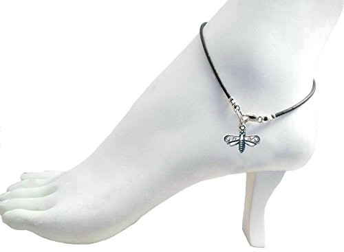 "Black Leather 9"" Anklet with Dragonfly Charm ~ Sterling Silver Clasp"