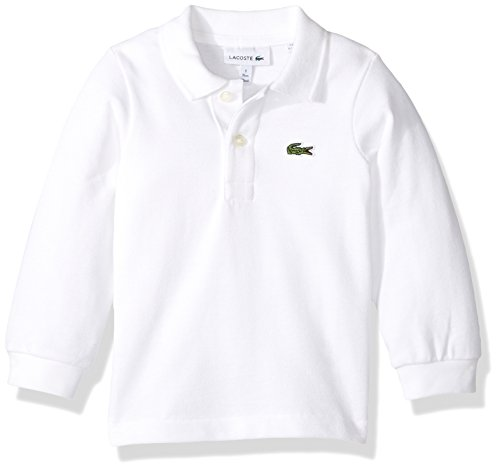 Lacoste Little Boy Long Sleeve Classic Solid Pique Polo, White, 4