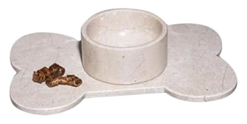 Polished Marble Food / Water Pet Bowl for Cats and Dogs, Desert Sand by Rembrandt Home