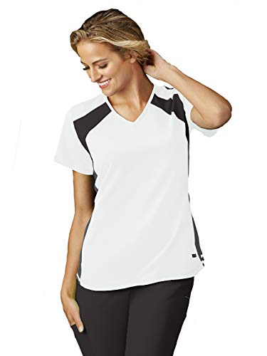 Jockey 2403 Women's Modern Fit Mesh Panel V-Neck Scrub Top - Comfort Guaranteed White M