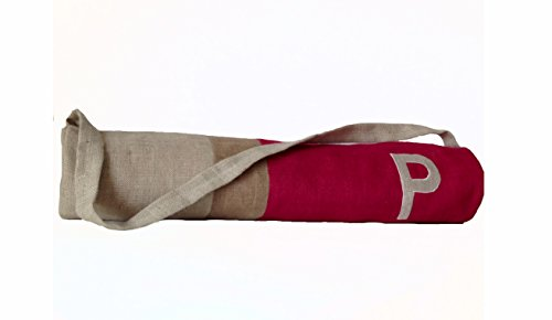 Amore Beaute Handcrafted Customizable Monogrammed Yoga Mat Bag in Fuschia Burlap Color Block Design - Yoga Backpack - Yoga Accessories - Exercise Bag - Gift - Embroidered Bags - Gifts for Her
