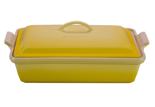 Le Creuset Heritage Stoneware 12-by-9-Inch Covered Rectangular Dish, Soleil