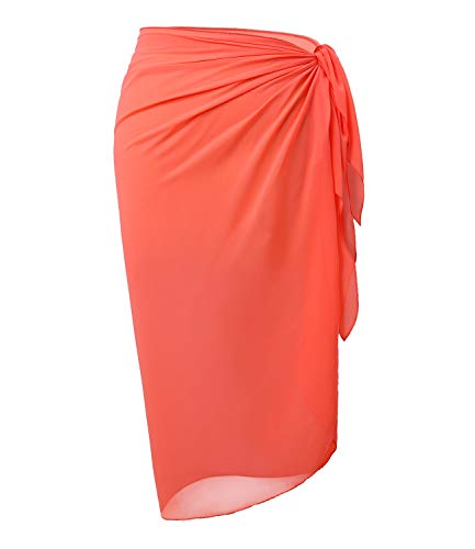 (LIENRIDY Women's Sarong Wrap Beach Swimwear Soft Long Cover up Pareo Swimsuit Wrap Coral Orange Middle Plus Size)