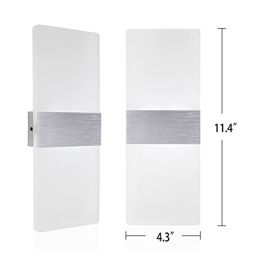Kernorv LED Wall Sconces Light Modern and Fashion Cool White Modern Wall Sconce Decorative Lamps for Bedroom Living Room Balcony Porch Stairway Office Hotel and Hallway 11.4'' x 4.3'' (12W, 6000K) by Kernorv (Image #3)