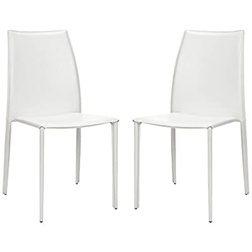 Safavieh Home Collection Aubrey White Leather Side Chairs, Set of 2