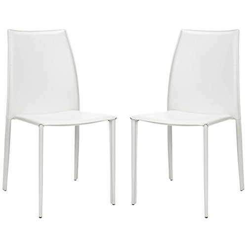- Safavieh Home Collection Aubrey White Leather Side Chairs, Set of 2