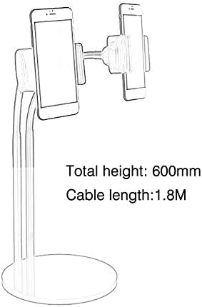 2-in-1 Phone Holder Stand Adjustable Long Arm Desk Stand with Selfie LED Light Black