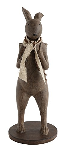 Creative Co-op Brown Resin Rabbit with Basket Decoration