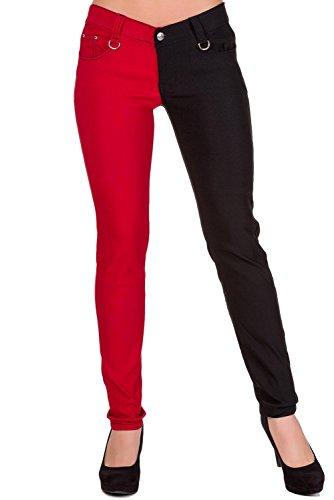 Mujeres Ajustados Banned Piernas Punk Emo Pantalones Rojo Separadas De wgw4OHqx