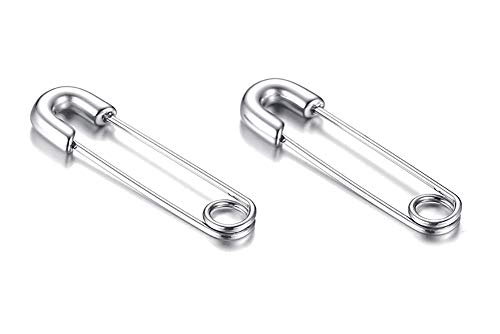 Stainless Steel Stylish Cartilage Earrings Punk Goth Safety Pin Earrings for Women Girl Teens Sleeper Hoops