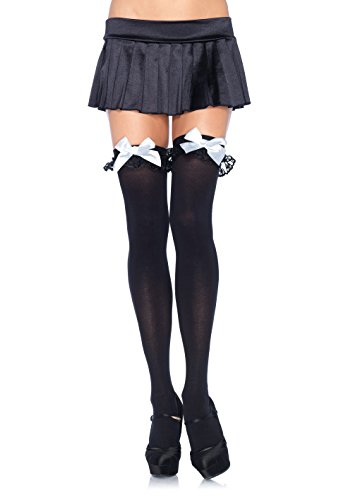 Leg Avenue Womens Chiffon Ruffle and Satin Bow Thigh Highs