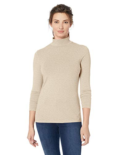 Amazon Essentials Women's Classic-Fit Long-Sleeve Mockneck Top, Oatmeal Heather, Medium