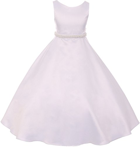 (BNY Corner Flower Girl Dress First Communion Sleeveless Long Satin Pearl Trim Dress Big Girl White 16 KD.386)