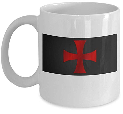 Knights Templar coffee mug - Templar cross flag symbol - Masonic Temple of Solomon medieval order gift cup - Freemason Lodge present - Sold only by Saroth design