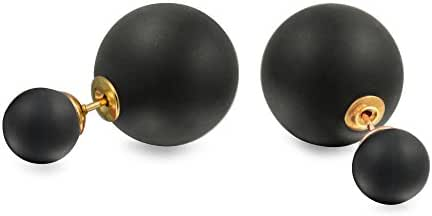 Bling Jewelry Double Stud Matte Orb Earrings Gold Plated Alloy Resin