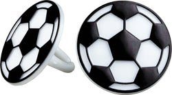 A1BakerySupplies 24 Count Soccer Ring Picks for Cup Cake Topper Cup Cake Picks Soccer Rings -